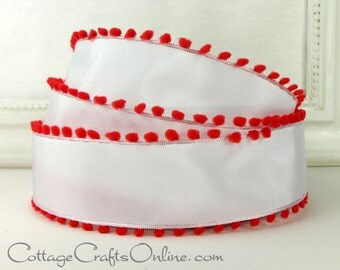 """Wired Ribbon, 1 1/2"""" wide,  White with Red Pom Poms, THREE YARDS, May Arts, Valentine, Christmas Craft Decor  Wire Edge Ribbon"""