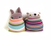 PAIR of SOCKbear-MINIs Bear & Bunny Stripes, Key ring, Bag Clip, Hanging ornament, Stocking filler, Cake Topper