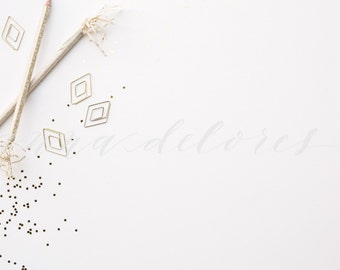 Styled Stock Photo, Vintage Items Stock Product Photography, Metallic Anthropologie Pencils, Gold Glitter Confetti, Custom Stock Photo