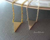 Geometric Triangle Necklace in silver or gold