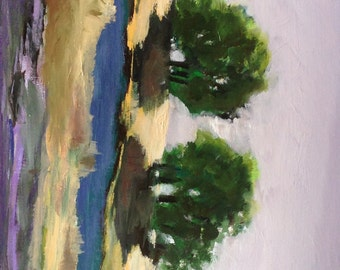 Two by the River. 11x14 original modern oil painting.