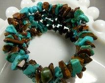 Wrap Around Bracelet, Faux Turquoise Chips & Tiger's Eye Gemstones, Tiger's Eye - Gemstone Bracelet, BRACELETS, Southwestern Style Bracelet