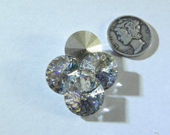 Swarovski 1122  White Patina 14mm Crystal Rivoli Stones F - 1 Piece