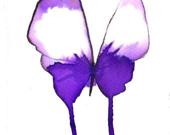 purple and white butterfly original watercolour painting 7 x 5""