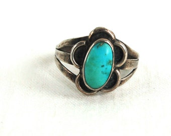 Turquoise Boho Ring Size 6 Sterling Silver Vintage Southwestern Jewelry Southwest Desert Gift for Her