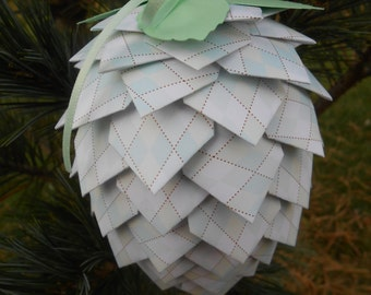 Mint Argyle Paper Pinecone Ornament. Decoration, Christmas, Gift, Birthday, Anniversary, Wedding.