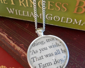 "Princess Bride ""As You Wish"" Book Necklace. Unisex Gift, Bridesmaid Gift. Silver Plated. Custom Orders Welcome."