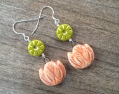 Tulip and Sun Earrings - Lime Green, Orange, Sterling Silver, Gold - Glass and Clay - Nature Lovers Jewelry