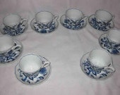 Great BLUE DANUBE Onion Set Of 8 Cups And Saucers Rectangle