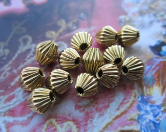 Corrugated Bicone Beads Raw Brass 7mm 24Pcs.