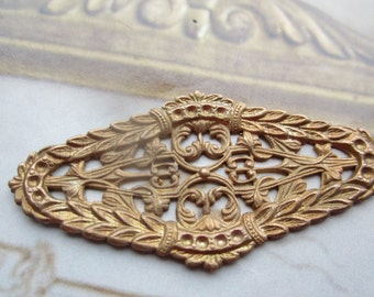 Vintage  Raw Brass Ornate Crest Filigree Stamping With Patina 1Pc.