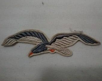 Vintage Seagull Jacket or Hat Patch , Wool Embroidered , Blue and Gray