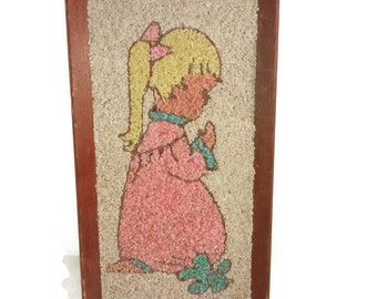 Praying Girl , Vintage gravel Art , Mid Century