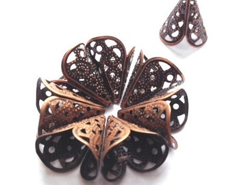 8pc-Antique Copper Plated Filigree 18mm x 16mm Bead Cone