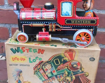 Vintage Tin Litho Western Locomotive Battery Operated Toy Train Japan