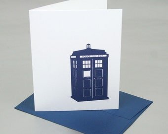 Tardis Time Machine Letterpress Card - Doctor Who