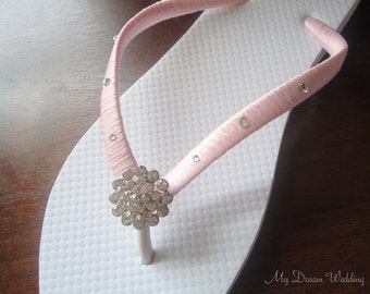 Pink Flip Flops. baby pink Swarovski Crystals bride flip flops. Wedding Party - Other Pink shades available.-BELLA Design-baby pink