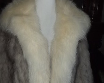 Vintage Nordic Fox Fur Womens Jacket, Small, Custom Tailored