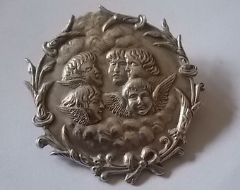 Vintage Silver Angels Cherubs Brooch Pin BEAUTIFUL