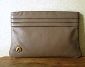 Clutch Bag Taupe Brown Leather clutch purse Etienne Aigner vintage 80s pleated leather hipster handbag designer high fashion