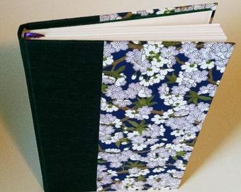 Handmade, One-of-a-Kind Purple Flowers on Blue Blank Journal/Sketchbook - M012