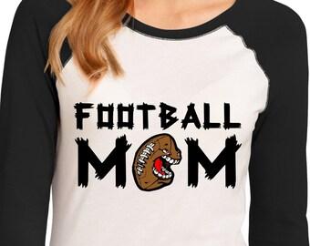 Football Mom Raglan T-Shirt Mom Jersey.