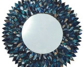 Blue and turquoise leather feather mirror, bathroom mirror, leather mirror, decorative mirror, beach mirror, circle mirror