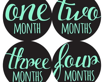 FREE GIFT, Baby Month Stickers, Monthly Baby Sticker, Baby Belly Sticker, Baby Milestone Sticker, Mint, Black, Girl, Boy, Gender Neutral