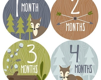 FREE GIFT, Monthly Stickers Boy, Woodland Monthly Baby Stickers, Baby Boy Woodland Month Stickers, Fox, Woodland