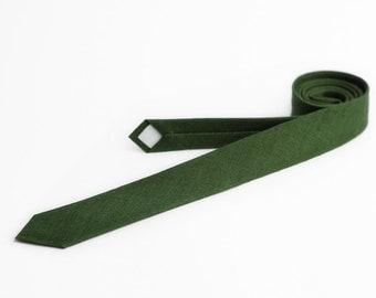 Forest green tie, dark green tie, skinny tie
