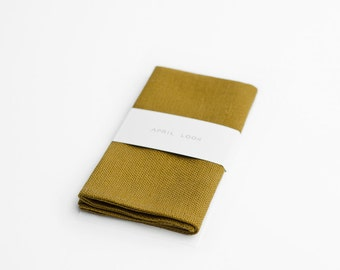 Brown mustard handkerchief, honey pocket square