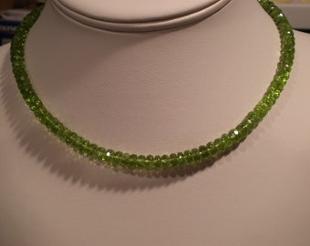 Gemmy gorgeous green Peridot necklace approximately 16 inches long gift August birthstone healing