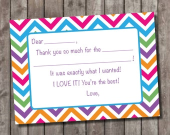 Chevron Fill In Thank You Cards