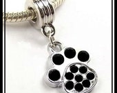 Bling Paw Print w Jet BLaCK Rhinestones - Animal DoG Cat Lover - Silver Plated Pendant Dangle Charm Bead - fits European Bracelets - MD