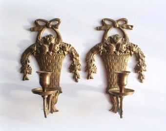 Brass wall sconce, ornate brass candle holders, basket of flowers, Victorian style, floral swag