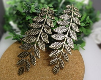 20%off:  10pcs  Large Antique Brass Plated  Leaves Filigree Charms31x 90mm (LV-11)