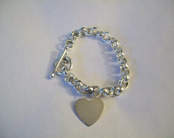 Sterling Silver Heart Bracelet Made in Italy- size 8