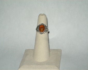 Sterling Silver & Natural Amber Ring Size 4 1/2
