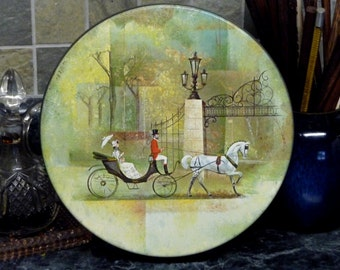 Vintage Tin Box -Victorian Lady in Carriage
