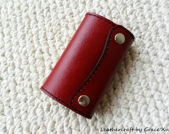 100% hand stitched handmade red cowhide leather key purse / holder / case with card pouch