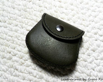 100% hand stitched handmade olive green cowhide leather Ipod, ear buds, coin, trinket, jewelry,case / pouch