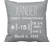"""Custom Throw Pillow - Baby Name and Birth Stats - Personalized Bright Chevron Pillow- 16"""" X 16"""""""