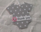 Set of 12 Gray and White Polka Dot Onesie Thank You Tags - Pink Flowers with Rhinestone Centers  - Baby Shower, Favor Gift Tags