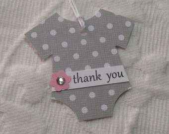 Set of 12 Gray and White Polka Dot Bodysuit Thank You Tags - Pink Flowers with Rhinestone Centers  - Baby Shower, Favor Gift Tags
