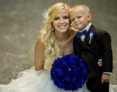 Wedding Bouquet, Bridal Bouquet, Feather Bouquet, Brooch Bouquet, Peony Bouquet, Cobalt, Blue, Rhinestone, Pearl, Elegant Bouquet