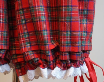 Mid Victorian Scarlet Red Tartan Womens Drawers. Bloomers. Underwear. 19th Century