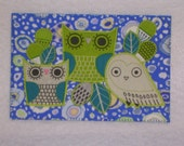 OWL Birthday Postcard Him Her Friend Mom Thank You Housewarming Frame Gift Hi Kitchen Bath Cabin Any Room 4x6 fabric quilted appliqued card