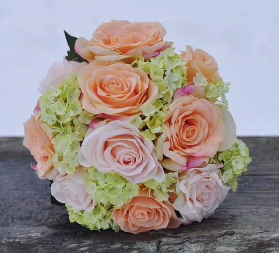 coral and pink rose with green hydrangea wedding bouquet made. Black Bedroom Furniture Sets. Home Design Ideas