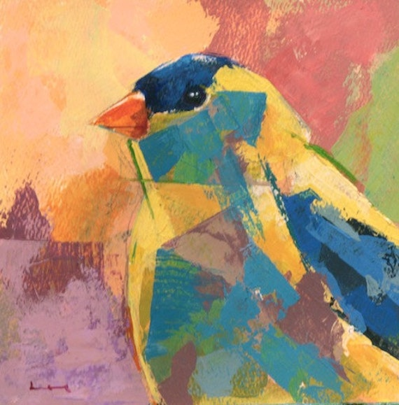 Bird 21 original acrylic painting on watercolor paper by for Acrylic painting on paper tips