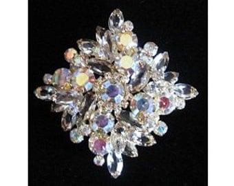 Vintage 1960s Juliana DeLizza & Elster Aurora Borealis Clear Rhinestone Tiered Brooch - HUGE and  Stunning